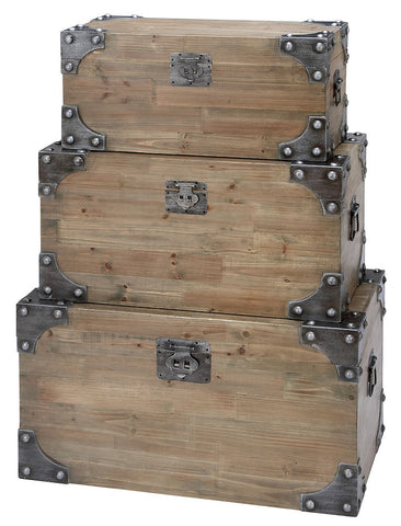 53173 Fitted Bolts Metal Wood Rectangular Storage Trunk Set of 3 by Benzara