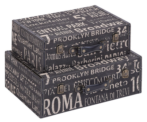 53845 European Landmarks Canvas Wood Suitcase Storage Box Set of 2 by Benzara