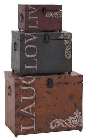 53854 Live Laugh Love Metal Rectangular Storage Box Set of 3 by Benzara