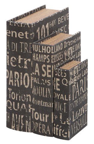 53862 European Landmarks Canvas Wood Faux Book Box Storage Set/3 by Benzara