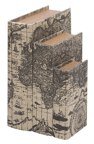 53863 Ancient World Map Canvas Wood Faux Book Box Storage Set of 3 by Benzara