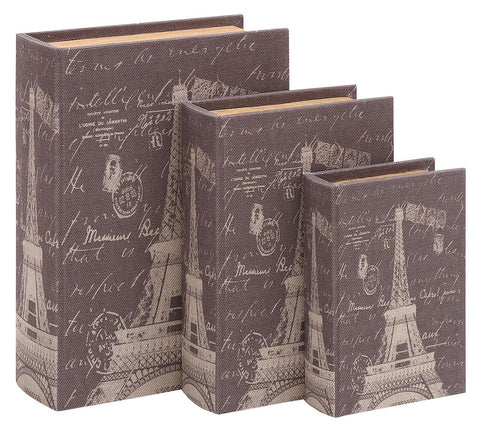 54164 Eiffel Tower Postcards Canvas Wood Faux Book Box Storage Set of 3 by Benzara
