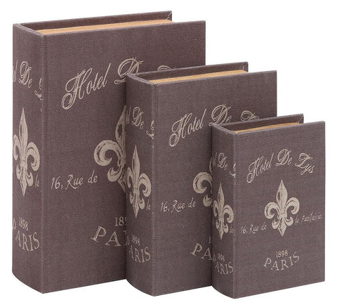 54165 Paris Hotel de Lys Canvas Wood Faux Book Box Storage Set/3 by Benzara