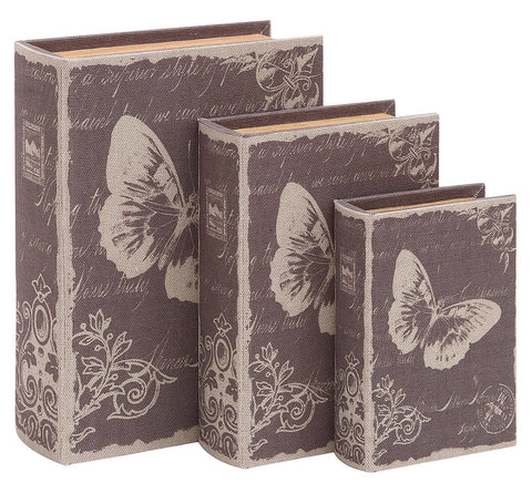 54166 Butterfly Postcards Canvas Wood Faux Book Box Storage Set of 3 by Benzara