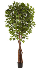 5453 Super Deluxe Ficus Silk Tree with Planter by Nearly Natural | 7.5 feet