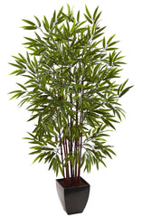 5458 Bamboo Artificial Silk Tree with Planter by Nearly Natural | 60 inches