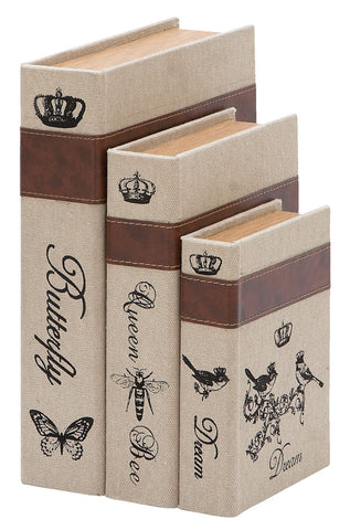 54707 Nature Garden Burlap Wood Faux Leather Book Box Storage Set of 3 by Benzara