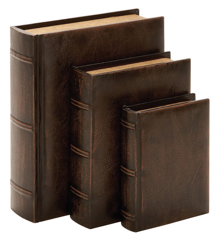 55701 Embossed Design Faux Leather Wood Book Box Storage Set of 3 by Benzara