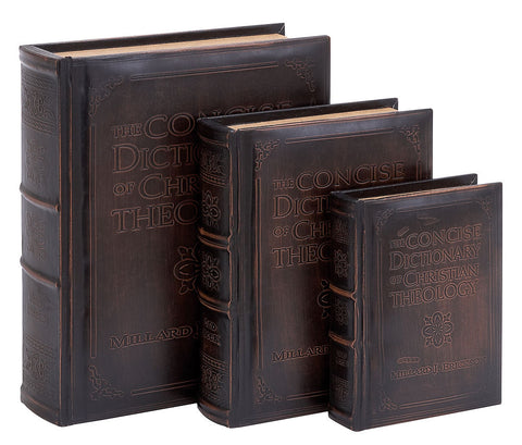 55712 Theology Dictionary Faux Leather Wood Book Box Storage Set of 3 by Benzara