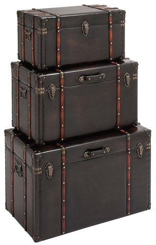 55746 Dark Gray Faux Leather Wood Rectangular Storage Trunk Set of 3 by Benzara