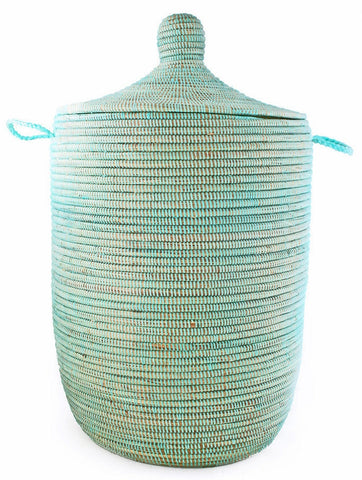 sen11h Aqua Large Traditional Laundry Hamper Storage Basket | Senegal Fair Trade by Swahili Imports