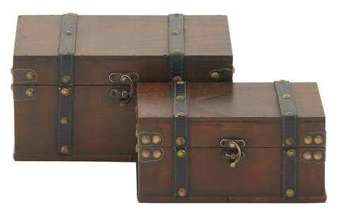 56630 Brown Strap & Buckle Faux Leather Wood Rectangular Storage Box Set/2 by Benzara