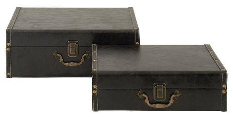 56645 Black Faux Leather over Wood Rectangular Storage Box Set of 2 by Benzara