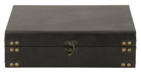 56648 Black Faux Leather over Wood Rectangular Storage Box by Benzara