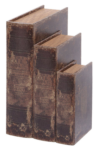 59376 Ancient Bible Faux Leather Wood Book Box Storage Set of 3 by Benzara