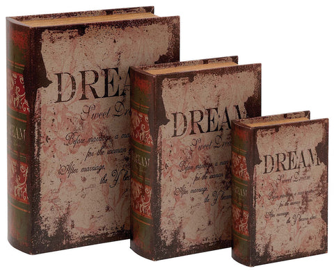 59378 Dream Faux Leather Wood Book Box Storage Set of 3 by Benzara