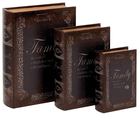Family Faux Leather Wood Book Box Storage Set of 3