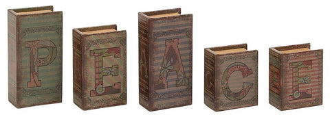 59392 PEACE Faux Leather Wood Mini Book Box Storage Set of 5 by Benzara