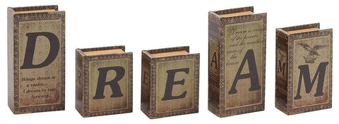 59393 DREAM Faux Leather Wood Mini Book Box Storage Set of 5 by Benzara