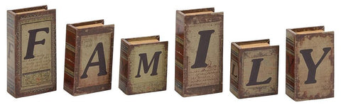 59395 FAMILY Faux Leather Wood Mini Book Box Storage Set of 6 by Benzara