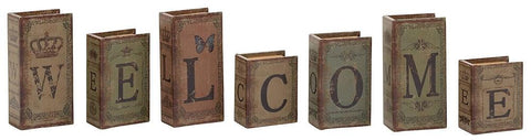 59396 WELCOME Faux Leather Wood Mini Book Box Storage Set of 7 by Benzara