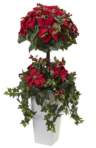 5941 Poinsettia & Berry Silk Topiary Plant by Nearly Natural | 48 inches