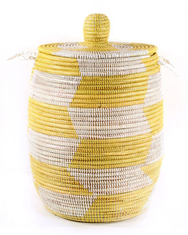 sen10d Yellow & White Chevron Medium Traditional Hamper Storage Basket | Senegal Fair Trade by Swahili Imports