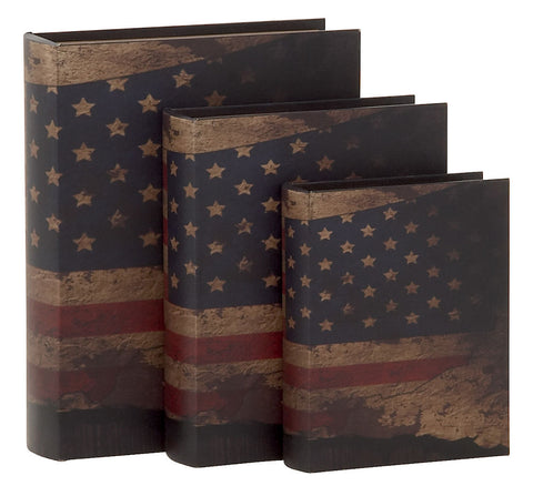 61448 American Flag Canvas Wood Faux Book Box Storage Set of 3 by Benzara