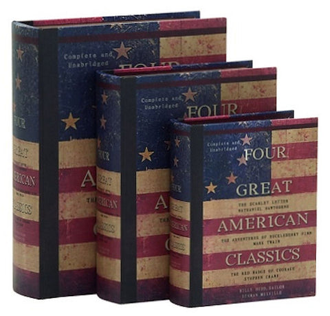 61449 Four American Classics Canvas Wood Faux Book Box Storage Set of 3 by Benzara