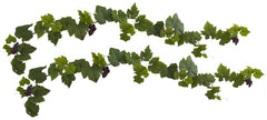 6157-S2 Grape Leaf & Grapes Set of 2 Silk Garlands by Nearly Natural | 72""