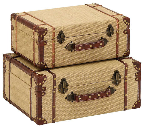62258 Vintage Design Burlap Wood Faux Leather Suitcase Storage Box Set of 2 by Benzara