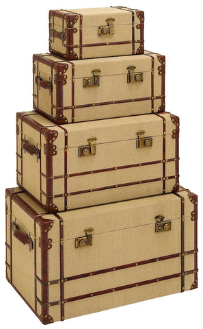 62261 Vintage Design Burlap Wood Faux Leather Storage Trunk Set of 4 by Benzara