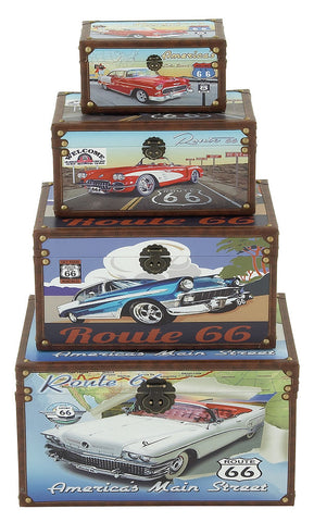 62288 Classic Cars Route 66 Canvas Wood Faux Leather Storage Trunk Set of 4 by Benzara