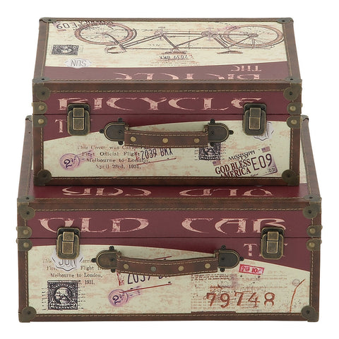 62295 Modes of Transport Canvas Wood Faux Leather Suitcase Box Set of 2 by Benzara