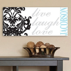 CA0009 Live Laugh Love Filigree Print on Canvas | Personalized Wall Art 18x8 by JDS Marketing