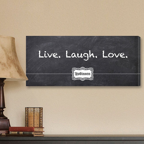 CA0012 Live Laugh Love Chalkboard on Canvas | Personalized Wall Art 18x8 by JDS Marketing