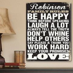 aged design family rules print on canvas personalized wall art 18x24 - Personalized Wall Decor