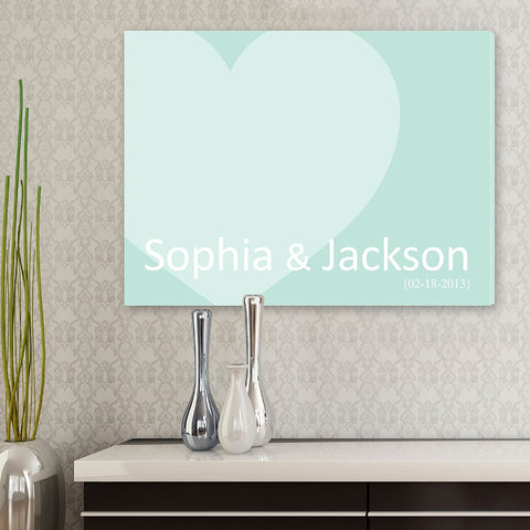 CA0048 Signature Heart Print on Canvas | Personalized Wall Art 24x18 by JDS Marketing