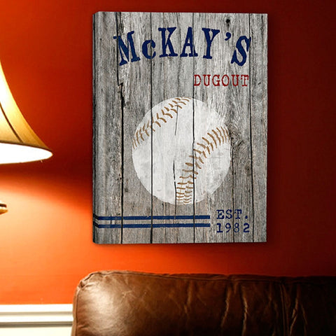 GC885 Baseball Man Cave Sports on Canvas in 5 Designs | Personalized Wall Art 14x18
