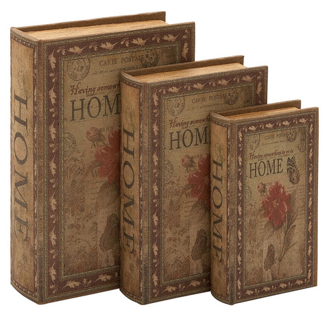 66753 Home Canvas Wood Faux Book Box Storage Set/3 by Benzara