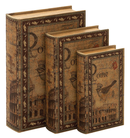 66755 Rome Italy Canvas Wood Faux Book Box Storage Set/3 by Benzara