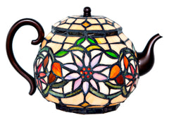 6705 Teapot Stained Glass Accent Lamp by River of Goods | 7 inches
