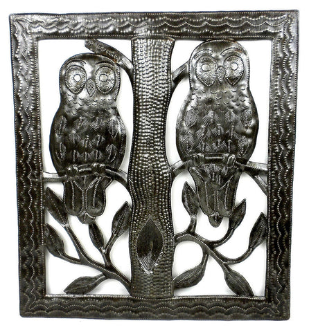 HMDSQUARE-D7-534033 Two Owls in a Tree Oil Drum Metal Wall Art 11x12"