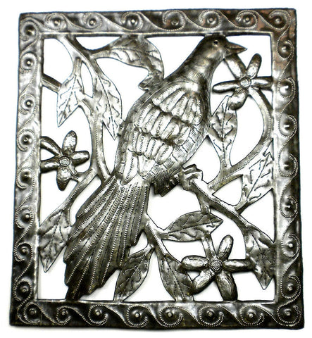 HMDSQUARE-D2-534028 Single Bird in a Tree Oil Drum Metal Art 11x12"