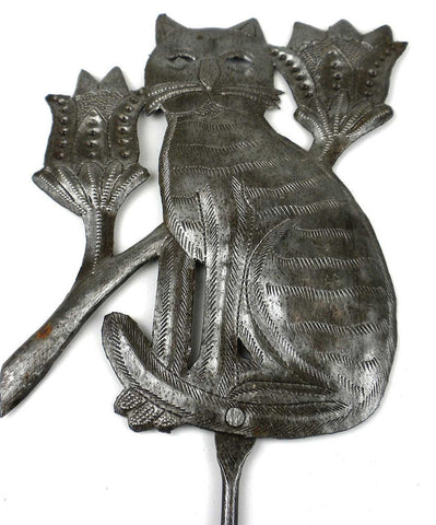HMDYCAT-534039 Cat with Flowers Garden Stake Oil Drum Metal Art | Haiti Fair Trade by Global Crafts