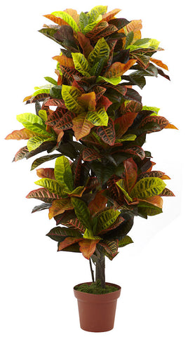 6721 Croton Artificial Plant with Planter by Nearly Natural | 56 inches