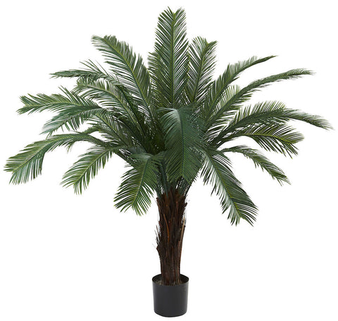 6770 Cycas Indoor Outdoor Silk Tree with Planter by Nearly Natural | 5 feet