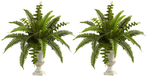 6790-S2 Boston Fern Set of 2 Silk Plants with Urns by Nearly Natural | 20""
