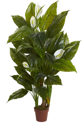 6811 Spathiphyllum Silk Plant with Planter by Nearly Natural | 54 inches