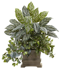 6824 Silver Queen Wandering Jew Fittonia Faux Plant by Nearly Natural | 28""